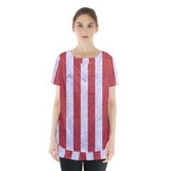 Stripes1 White Marble & Red Denim Skirt Hem Sports Top
