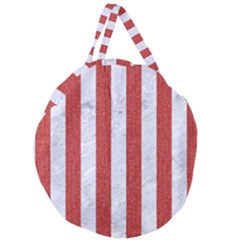 Stripes1 White Marble & Red Denim Giant Round Zipper Tote