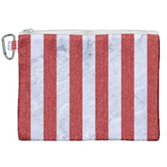 Stripes1 White Marble & Red Denim Canvas Cosmetic Bag (xxl) by trendistuff