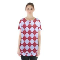 Square2 White Marble & Red Denim Skirt Hem Sports Top by trendistuff
