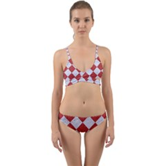 Square2 White Marble & Red Denim Wrap Around Bikini Set