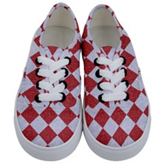 Square2 White Marble & Red Denim Kids  Classic Low Top Sneakers