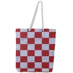 Square1 White Marble & Red Denim Full Print Rope Handle Tote (large)