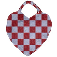 Square1 White Marble & Red Denim Giant Heart Shaped Tote