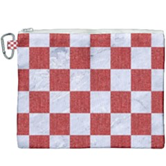 Square1 White Marble & Red Denim Canvas Cosmetic Bag (xxxl)