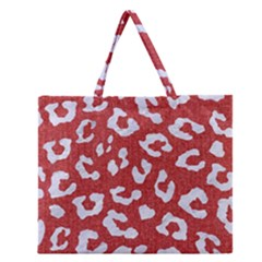 Skin5 White Marble & Red Denim (r) Zipper Large Tote Bag by trendistuff