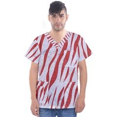 Skin3 White Marble & Red Denim (r) Men s V Neck Scrub Top