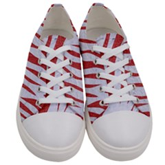 Skin3 White Marble & Red Denim (r) Women s Low Top Canvas Sneakers