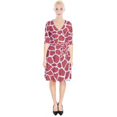 Skin1 White Marble & Red Denim (r) Wrap Up Cocktail Dress