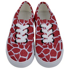 Skin1 White Marble & Red Denim (r) Kids  Classic Low Top Sneakers