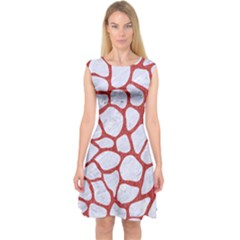 Skin1 White Marble & Red Denim Capsleeve Midi Dress