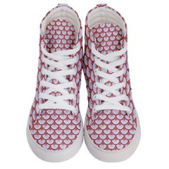 Scales3 White Marble & Red Denim (r) Women s Hi Top Skate Sneakers
