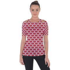 Scales3 White Marble & Red Denim Short Sleeve Top