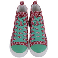 Scales3 White Marble & Red Denim Women s Mid Top Canvas Sneakers