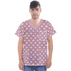 Scales2 White Marble & Red Denim (r) Men s V Neck Scrub Top