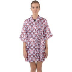 Scales2 White Marble & Red Denim (r) Quarter Sleeve Kimono Robe