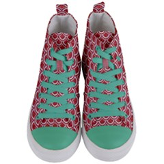 Scales2 White Marble & Red Denim Women s Mid Top Canvas Sneakers