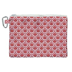 Scales2 White Marble & Red Denim Canvas Cosmetic Bag (xl)