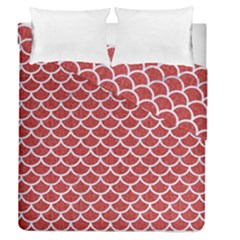 Scales1 White Marble & Red Denim Duvet Cover Double Side (queen Size) by trendistuff