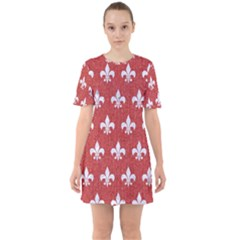 Royal1 White Marble & Red Denim (r) Sixties Short Sleeve Mini Dress