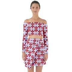 Puzzle1 White Marble & Red Denim Off Shoulder Top With Skirt Set