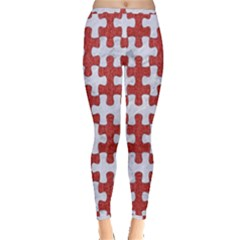 Puzzle1 White Marble & Red Denim Inside Out Leggings