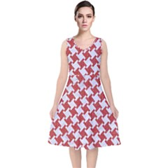 Houndstooth2 White Marble & Red Denim V Neck Midi Sleeveless Dress
