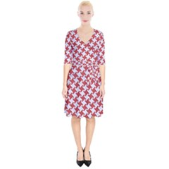 Houndstooth2 White Marble & Red Denim Wrap Up Cocktail Dress