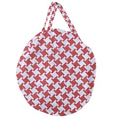 Houndstooth2 White Marble & Red Denim Giant Round Zipper Tote
