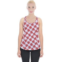 Houndstooth2 White Marble & Red Denim Piece Up Tank Top