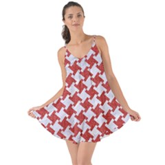 Houndstooth2 White Marble & Red Denim Love The Sun Cover Up
