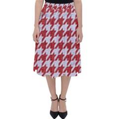 Houndstooth1 White Marble & Red Denim Folding Skater Skirt