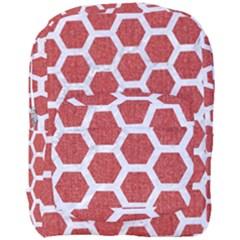 Hexagon2 White Marble & Red Denim Full Print Backpack