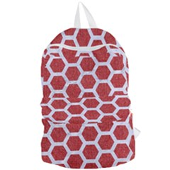 Hexagon2 White Marble & Red Denim Foldable Lightweight Backpack by trendistuff