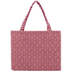 Hexagon1 White Marble & Red Denim Mini Tote Bag by trendistuff