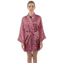 Hexagon1 White Marble & Red Denim Long Sleeve Kimono Robe