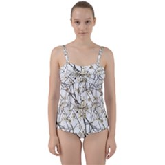 Nature Graphic Motif Pattern Twist Front Tankini Set