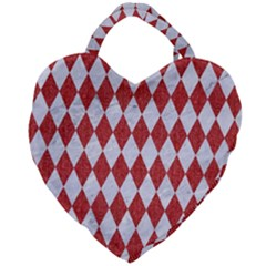 Diamond1 White Marble & Red Denim Giant Heart Shaped Tote