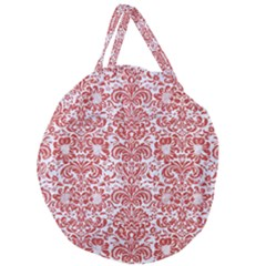 Damask2 White Marble & Red Denim (r) Giant Round Zipper Tote