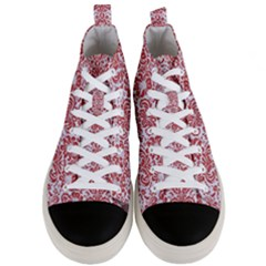 Damask2 White Marble & Red Denim (r) Men s Mid Top Canvas Sneakers