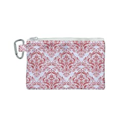 Damask1 White Marble & Red Denim (r) Canvas Cosmetic Bag (small) by trendistuff
