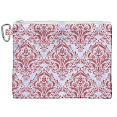 Damask1 White Marble & Red Denim (r) Canvas Cosmetic Bag (xxl)