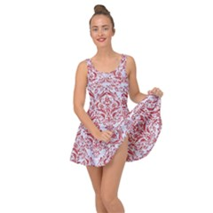 Damask1 White Marble & Red Denim (r) Inside Out Dress
