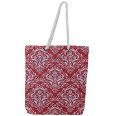 Damask1 White Marble & Red Denim Full Print Rope Handle Tote (large)