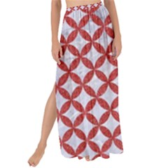 Circles3 White Marble & Red Denim (r) Maxi Chiffon Tie Up Sarong