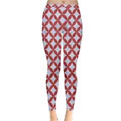 Circles3 White Marble & Red Denim (r) Inside Out Leggings