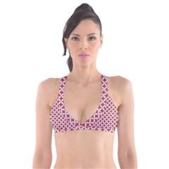 Circles3 White Marble & Red Denim Plunge Bikini Top