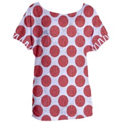 Circles2 White Marble & Red Denim (r) Women s Oversized Tee