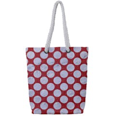 Circles2 White Marble & Red Denim Full Print Rope Handle Tote (small)