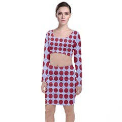 Circles1 White Marble & Red Denim (r) Long Sleeve Crop Top & Bodycon Skirt Set